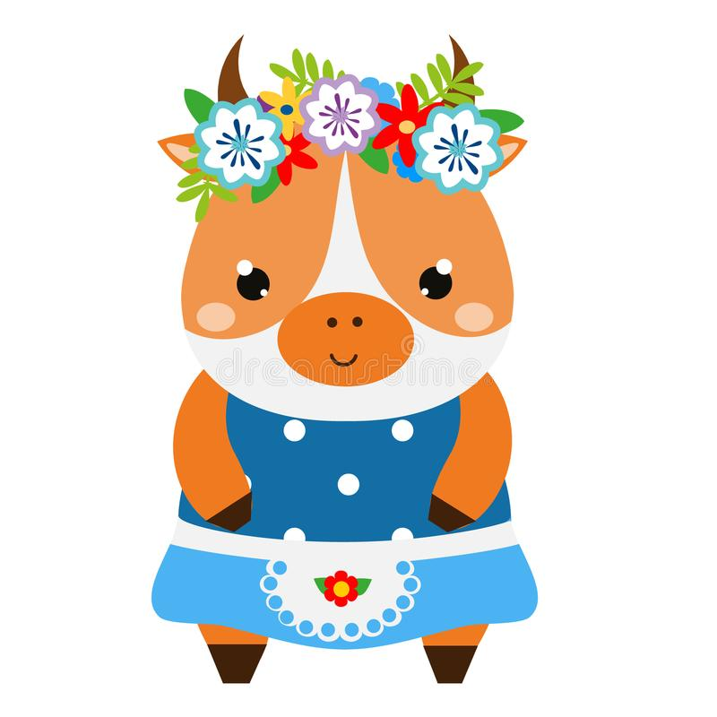 Cute cow in dress and flower wreath. Cartoon kawaii animal character. Vector illustration for kids and babies fashion.  stock illustration