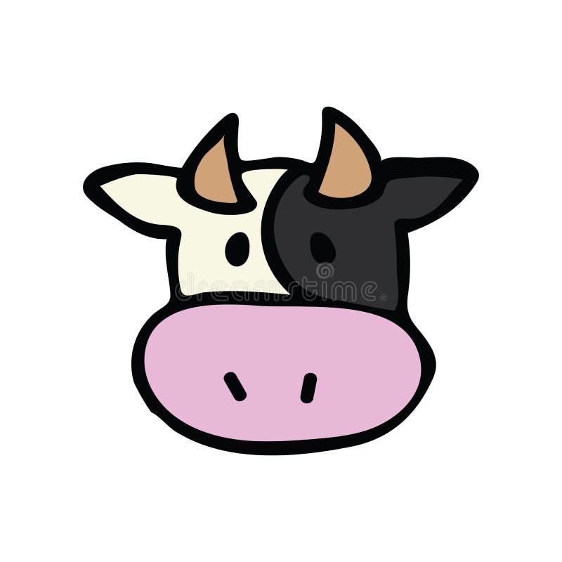 Cute cow head icon vector illustration. farm animal hand drawn for childrens clipart. Kawaii bovine bull drawing for dairy design. Farming agriculture design vector illustration