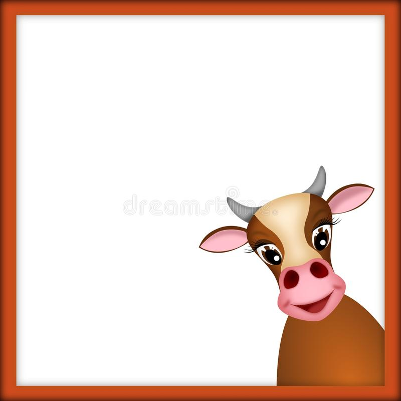 Free Cute Cow In Red Frame Royalty Free Stock Photos - 21818108