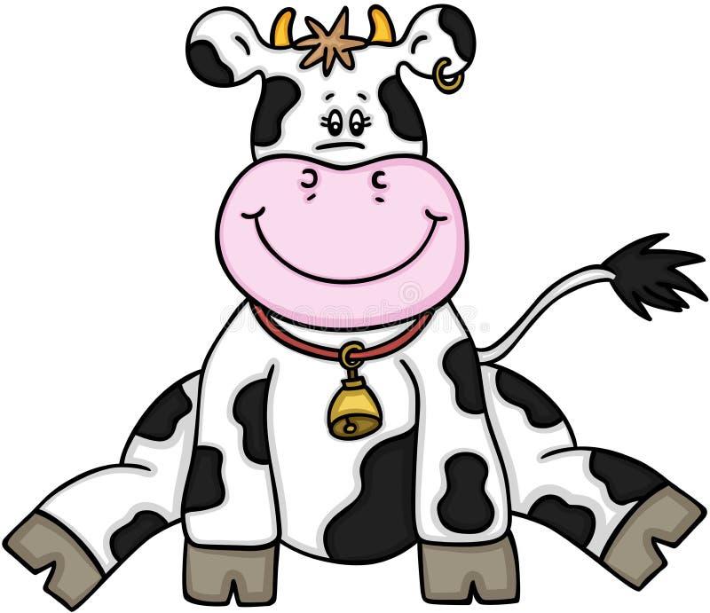 Cute cow sitting royalty free illustration
