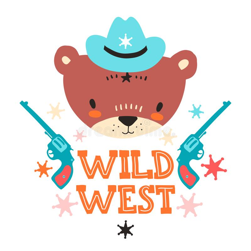 Cute cowboy baby bear. Hand drawn vector illustration. For kid`s or baby`s shirt design, fashion print design, graphic royalty free illustration