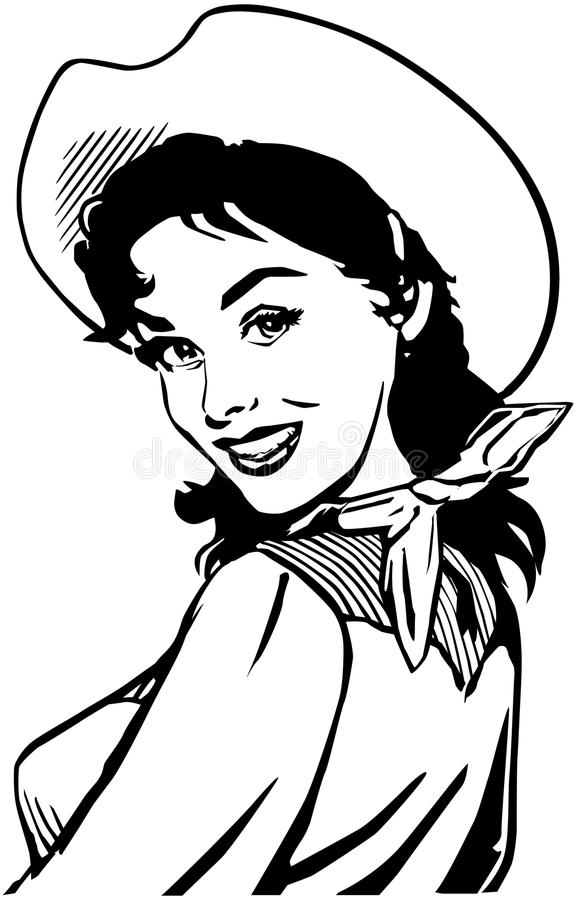 Cute Cowgirl 2 stock illustration