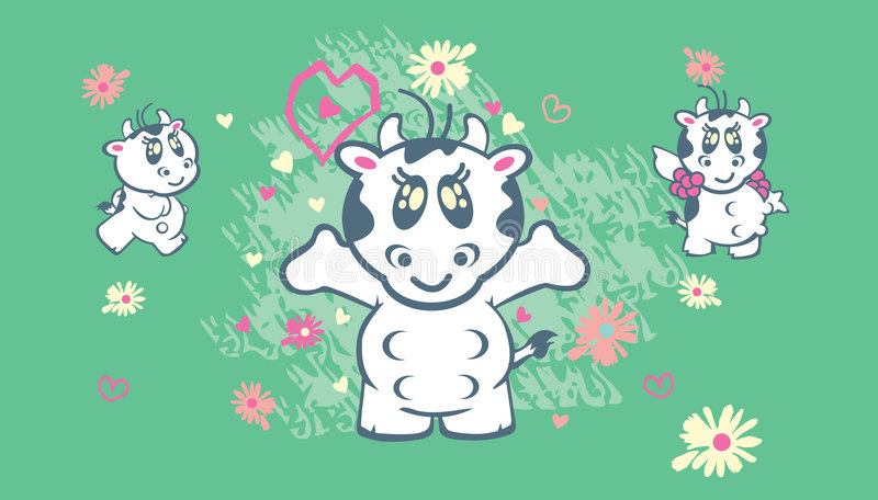 Download Cute cows illustration stock vector. Image of illustrated - 8984209