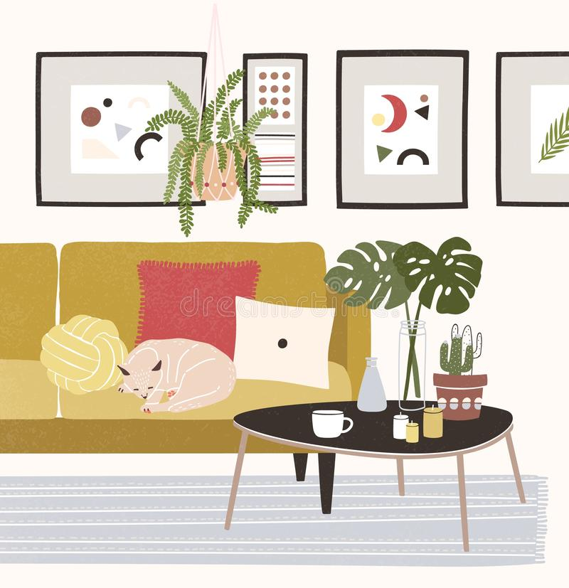 Cute cozy room with cat sleeping on comfy sofa, coffee table, potted plants, home decorations. Comfortable house or. Apartment decorated in modern Scandinavian royalty free illustration
