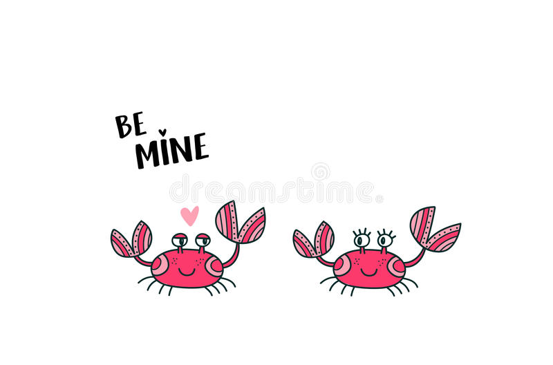 Cute crab couple in love vector illustration