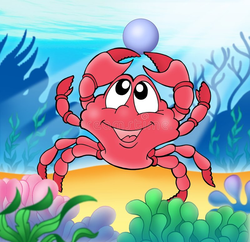 Cute crab with pearl royalty free stock images