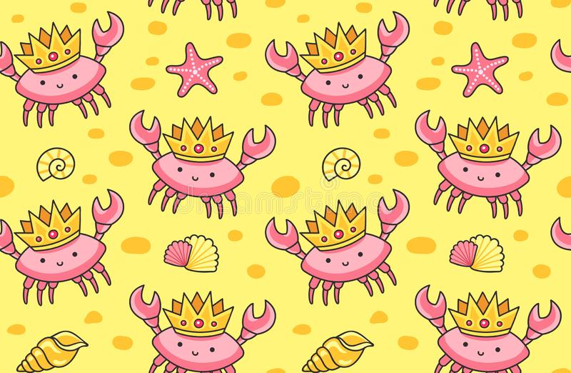 Cute crabs in the golden crowns on a sand background. stock illustration