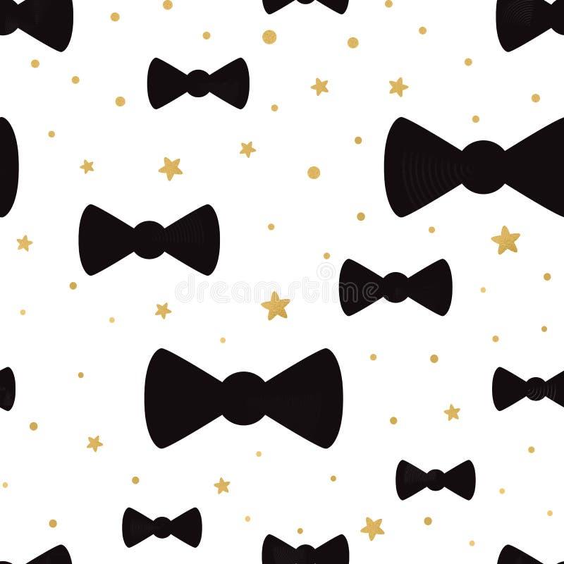 Cute cravatta di prua di hipster con sfondo di pois oro con ornamento a pois di polka illustrazione vettoriale