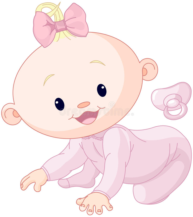Cute creeping baby vector illustration