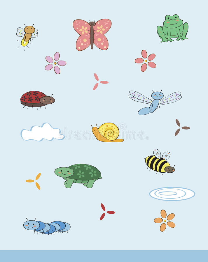 Cute creepy crawly set. Bugs, frog, and turtle all drawn in a cute girlie style with flowers vector illustration