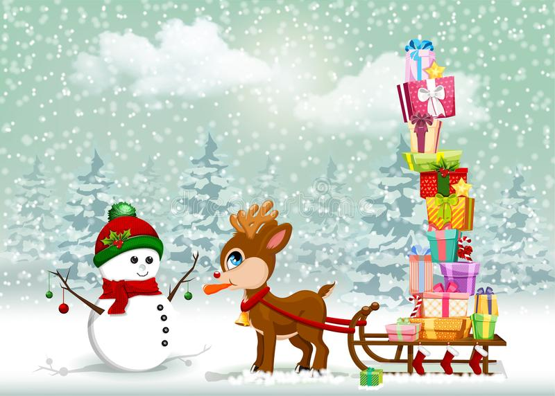Cute Christmas cartoon scene with reindeer and snowman. Very cute baby reindeer pulling the sleigh full of gifts and eating snowman`s nose