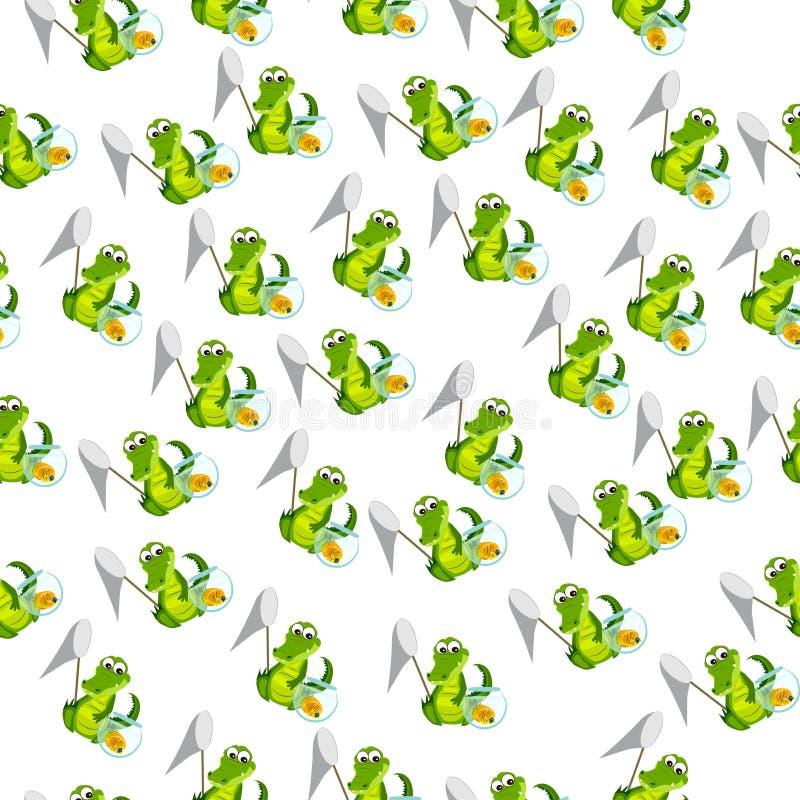 Cute crocodile or alligator. High quality original trendy vector illustration of a cute crocodile or alligator with net and aquarium vector illustration