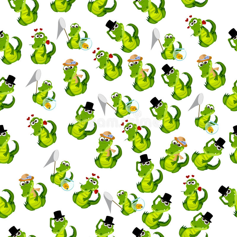 Cute crocodile or alligator. High quality original trendy vector seamless pattern with a cute crocodile or alligator in hat royalty free illustration