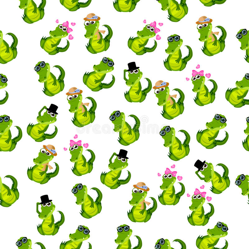 Cute crocodile or alligator. High quality original trendy vector seamless pattern with a cute crocodile or alligator with ribbon vector illustration