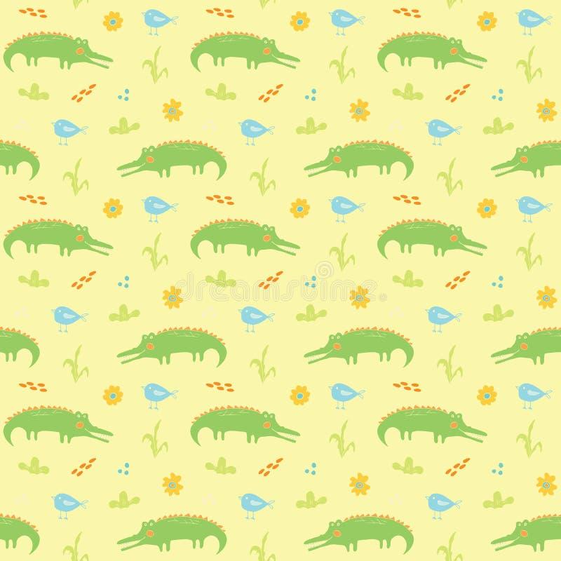Cute Crocodile of Alligator met kleine vogelloze Pattern, Cartoon Hand Drawn Animal Doodles Vector Illustration background stock illustratie