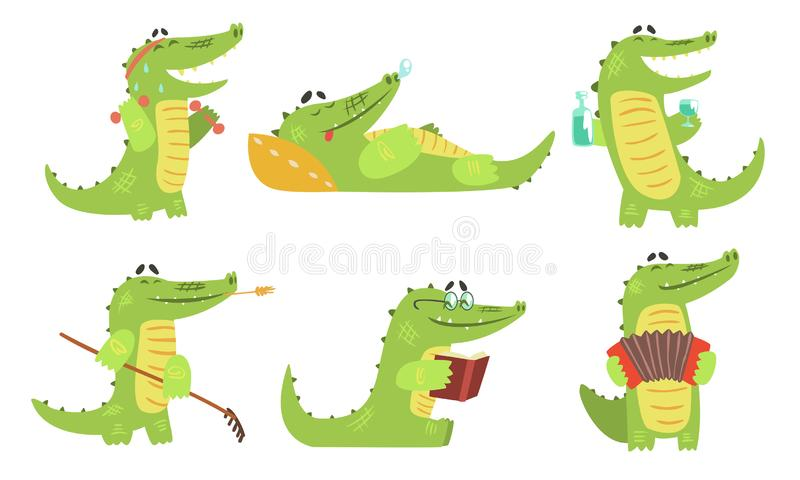 Cute Crocodile Cartoon Character in Different Situations Set, Funny Humanized Reptile Alligator Animal Vector. Illustration on White Background stock illustration