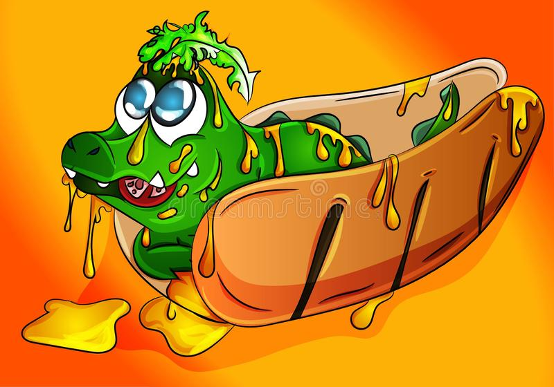Cute crocodile cub sitting on a hot dog full of mustard, salad and tomatoes eating. Vector, illustration, drawing for food, restau. Rant advertisement/ poster/ stock illustration