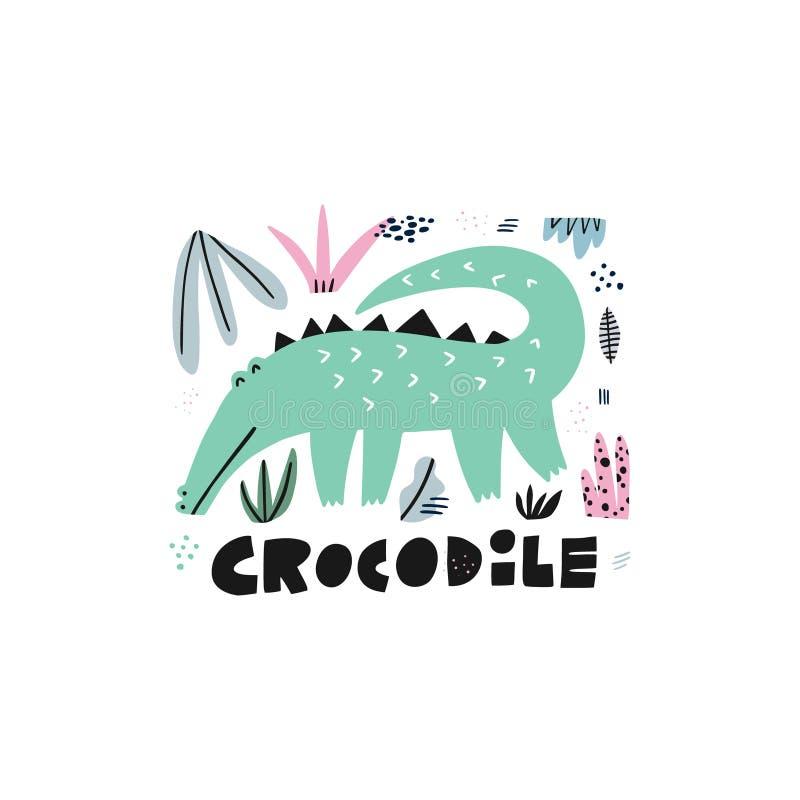 Cute crocodile hand drawn vector illustration vector illustration