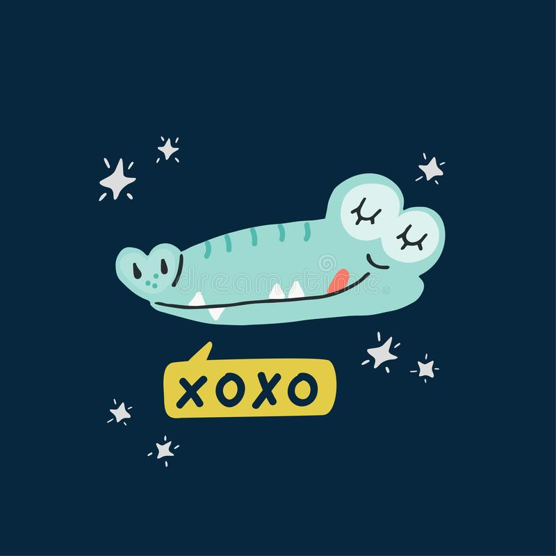 Cute crocodile head vector illustration royalty free illustration