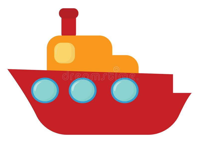 Clipart of a cute brown cruise ship set isolated on white background viewed from the side, vector or color illustration royalty free illustration
