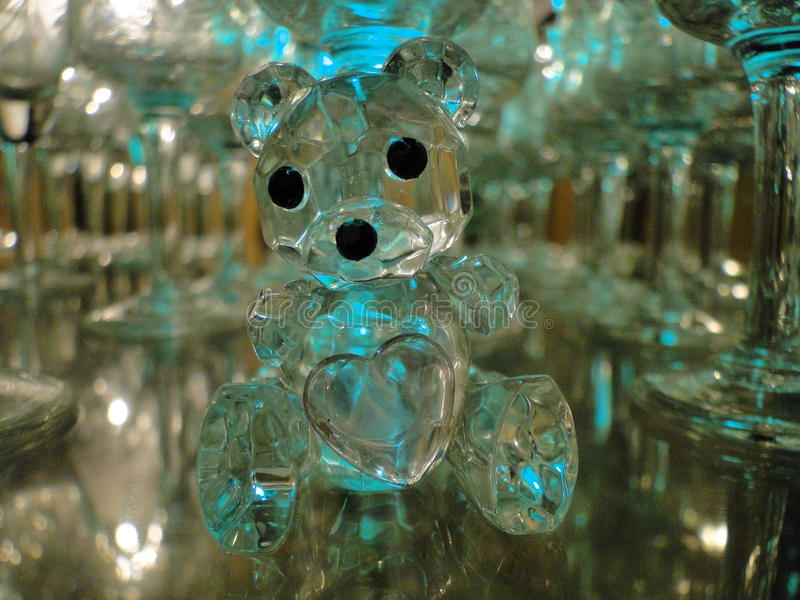 Cute crystal bear. With a heart on it stock photo