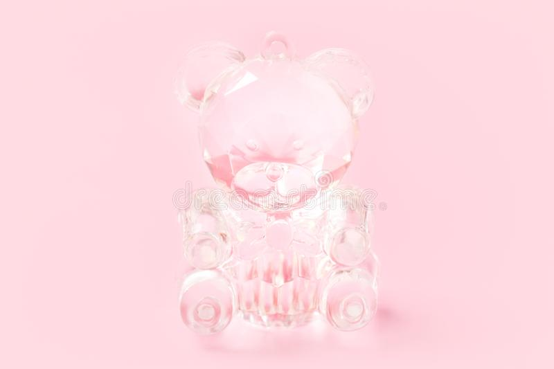 Cute crystal teddy bear toy on pink background. Cute crystal teddy bear toy on tender pinky background stock images