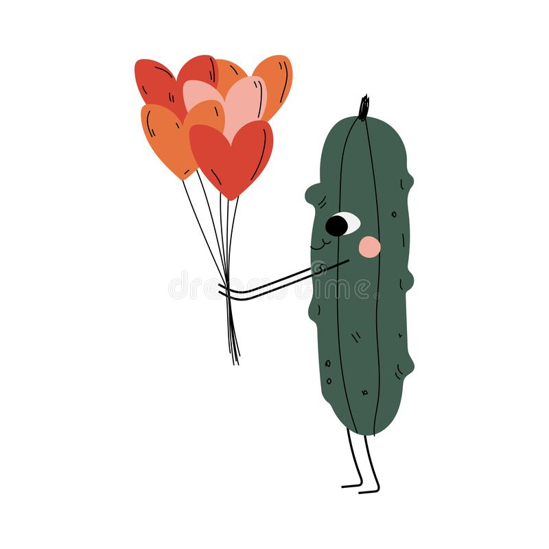 Cute Cucumber Standing amd Holding Balloons in Shape of Hearts, Cheerful Vegetable Character with Funny Face Vector. Illustration in Cartoon Style vector illustration