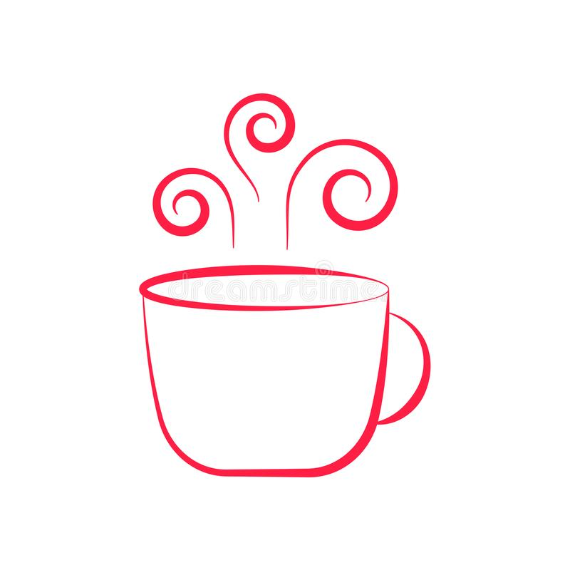 Cute cup with hot tea or coffee drawn in minimalism stock image