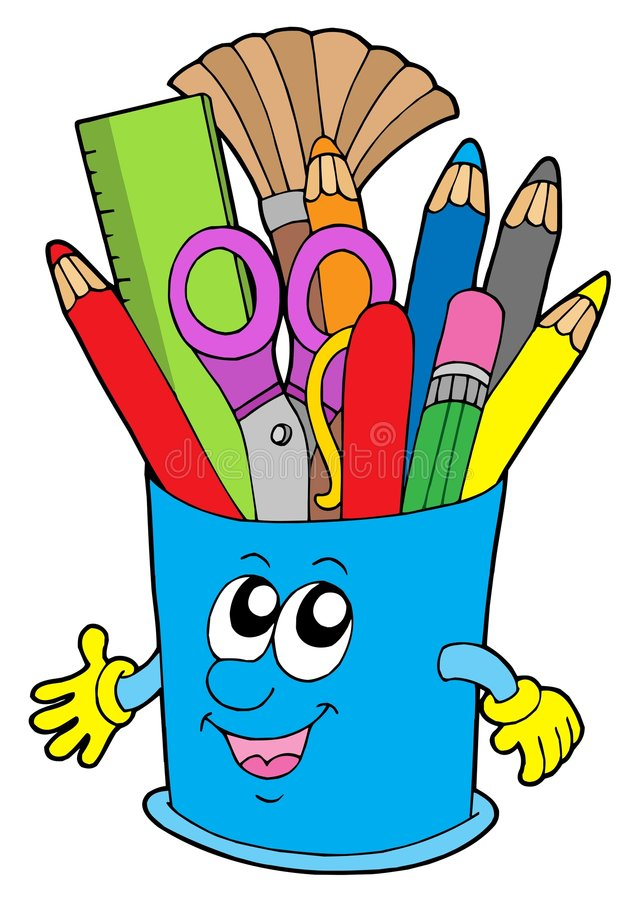Free Cute Cup With Crayons Stock Photo - 6235880