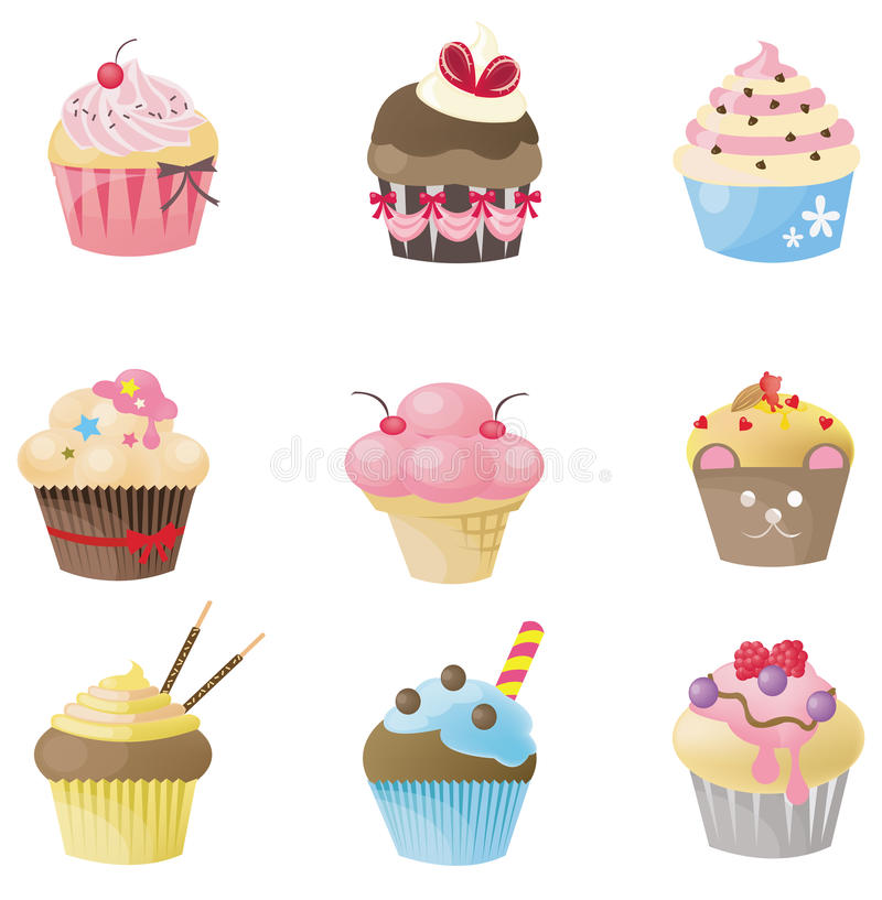 Cute cupcake with 9 different look stock illustration