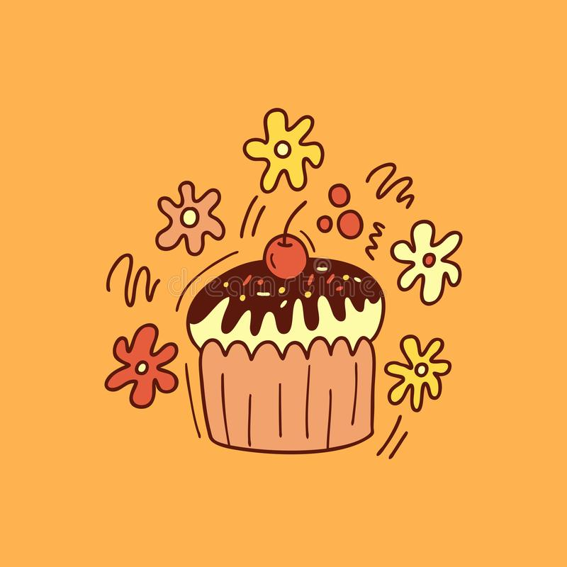 Cute cupcake with cherry. Vector cartoon illustration stock image
