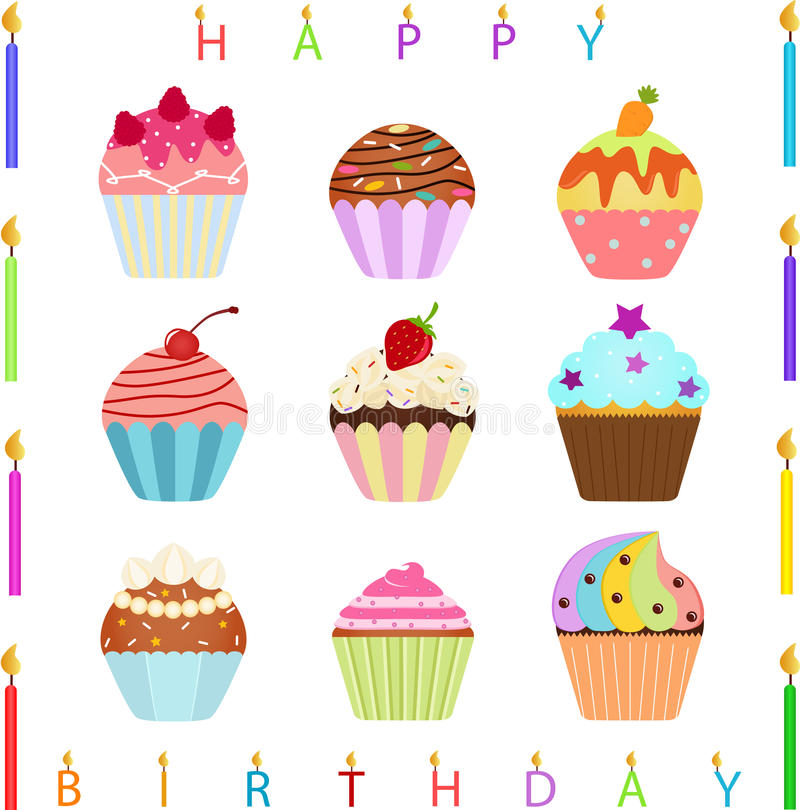Cute Cupcake with Happy Birthday Candles vector illustration