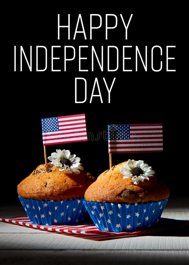 Cute cupcakes with american flag, Happy independence day background stock photos