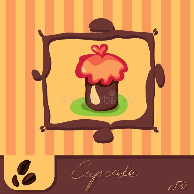 Cute cupcakes card vector illustration