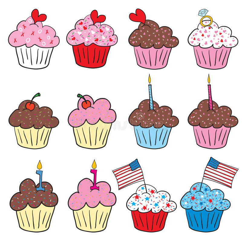 Cute Cupcakes In Many Styles Royalty Free Stock Images