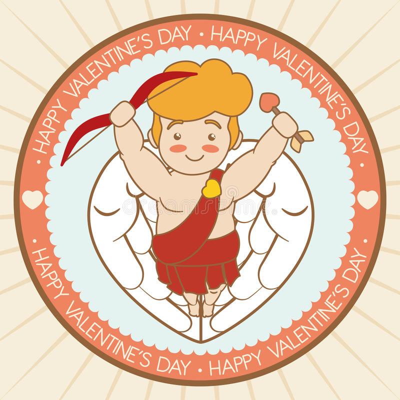 Cute Cupid with Arrow and Bow for Valentine's Day, Vector Illustration royalty free stock photos