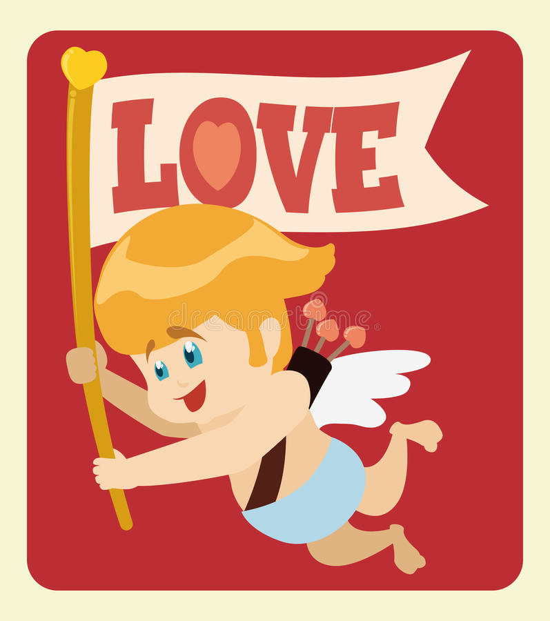 Cute Cupid Flying with Love Message Flag, Vector Illustration stock image