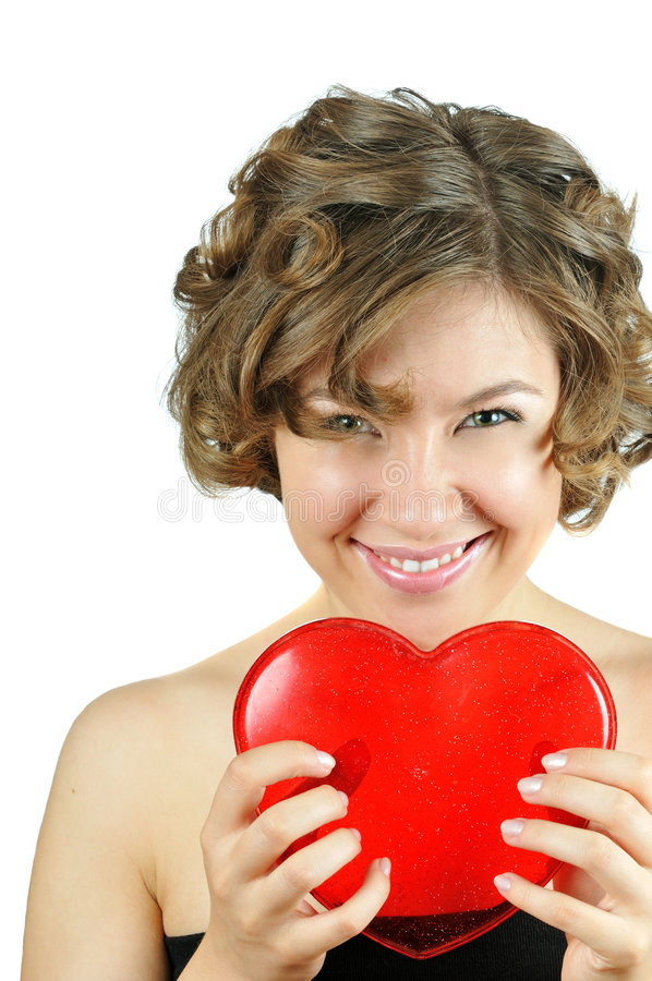 Cute cupid-girl with heart royalty free stock photos