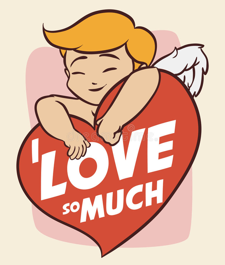 Cute Cupid Hugging a Heart with Love Message, Vector Illustration stock photography