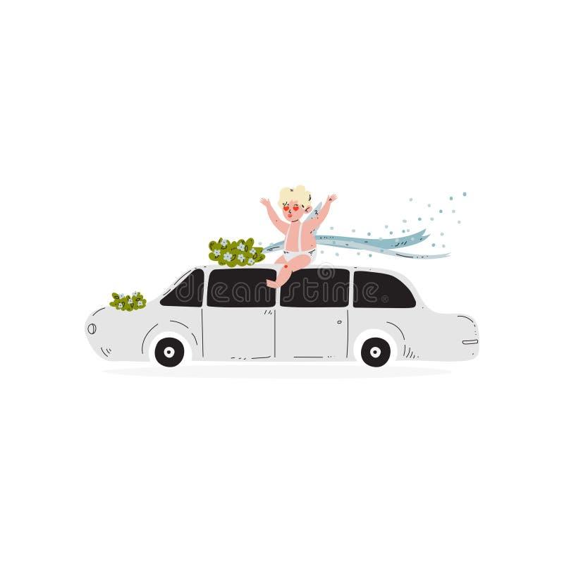 Cute Cupid Sitting on Wedding Retro Car, Amur Baby Angel, Happy Valentine Day Symbol Vector Illustration. Isolated on White Background stock illustration