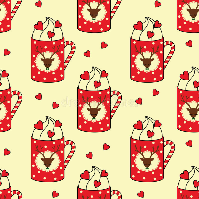 Cute cups with deer, candy cane, hearts seamless pattern. vector illustration
