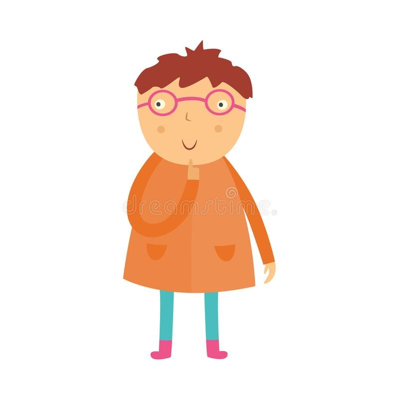 Cute curious little boy in glasses stands with his finger near face, looks up and thinks isolated on white background. stock illustration