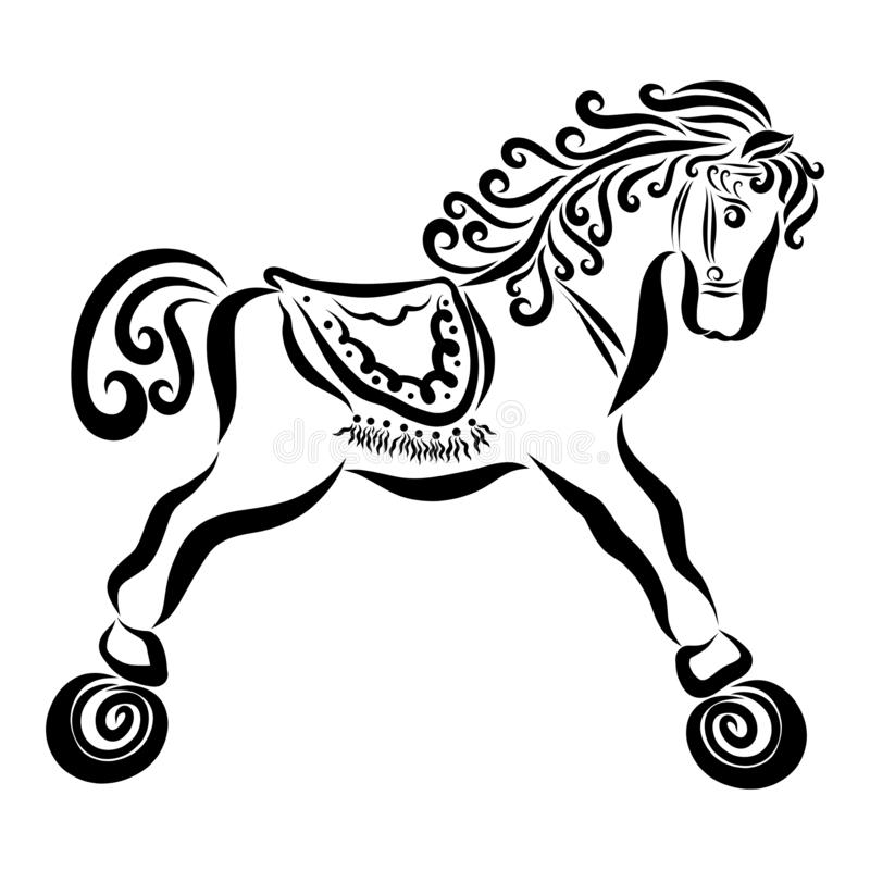Cute curly baby horse on wheels with a saddle.  vector illustration