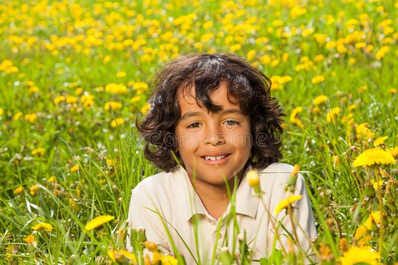 Cute curly boy in dandelions field stock photo