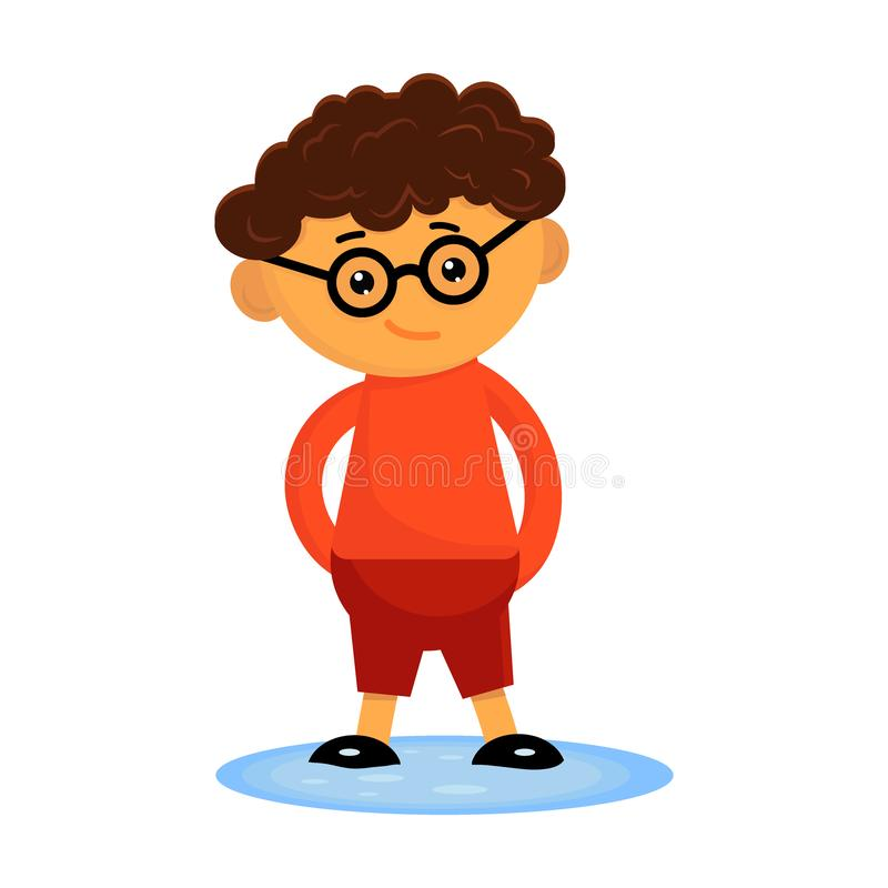 Cute curly boy in a glasses standing in a puddle with his hands behind his back. Flat vector illustration stock illustration
