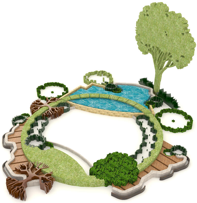Cute 3D green environment design for modern lifestyle vector illustration