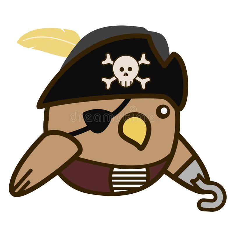 2D Cartoon Pirate bird flat design royalty free stock photography