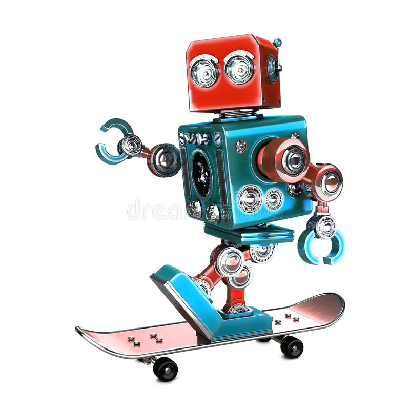 Cute 3D Retro Robot riding a skateboard. 3D illustration. . Contains clipping path stock illustration