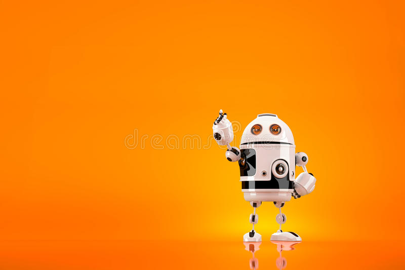 Cute 3D Robot pointing away. Contains clipping path stock illustration