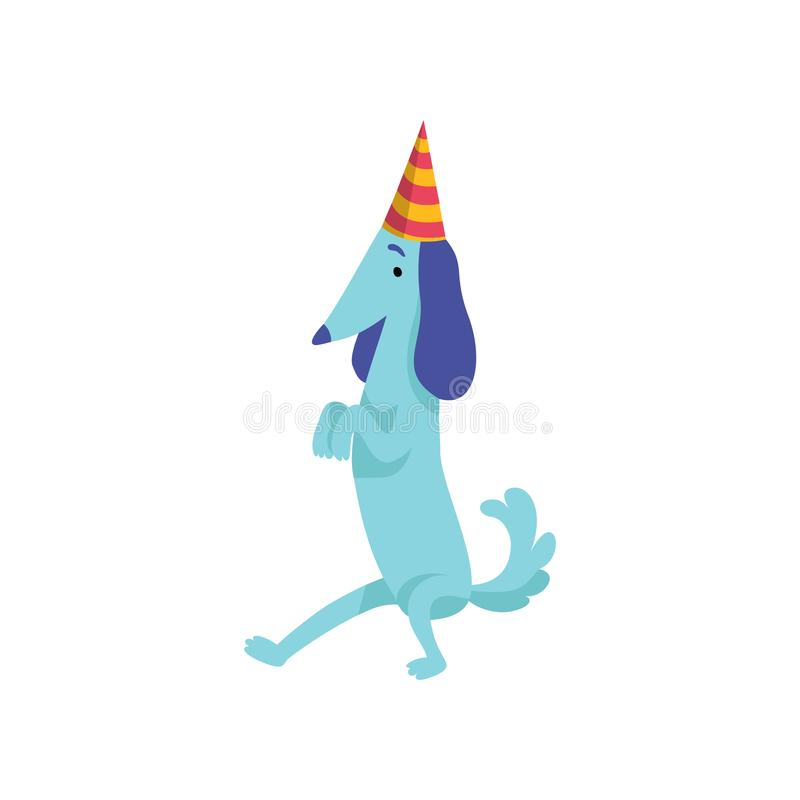 Cute dachshund dog in party hat, funny cartoon animal character at birthday party vector Illustration stock illustration